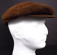 Vintage Leather Newsboy Cap Marshall Fields Company Size M Medium USA Union Made
