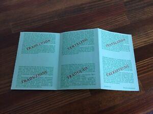 Rolex Vintage 1988 Translation Certification 569.00.40.11.88 Paper + free post