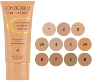 Coverderm Perfect Face Waterproof Make Up 24h Lasting Spf 20 In 11 Shades 30ml
