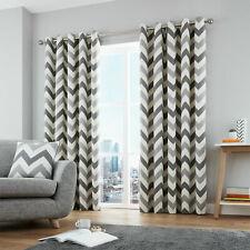 "Grey Lined Eyelet Curtains Fusion Chevron Geometric 66"" x 54"" (1137)"