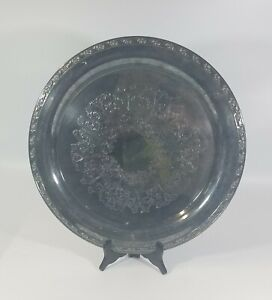 """Oneida Silversmiths Silverplated Holloware 17"""" Tray Perfectly Blue Tarnished"""