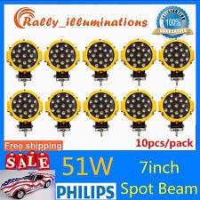 "10X 7""inch 51W Led Work Light Spot Jeep Truck Reverse Driving Round 12V24V SALE"