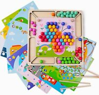 Kids Arts Crafts Colors Montessori Learning Toys Educational Wood Game Grip Bead