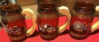 (3)Vintage Siesta Ware Brown Barrel Glass Mug Wood Handle w/Brass Western Theme