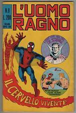 L'UOMO RAGNO corno N.8 IL CERVELLO VIVENTE fantastici quattro 4 dr. strange 1970