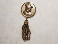 Vintage Sarah Coventery Ladies Goldtone Tassell Brooch Pin Jewelry Accessory