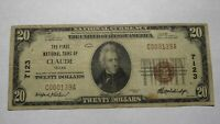 $20 1929 Claude Texas TX National Currency Bank Note Bill! Ch. #7123 FINE RARE!