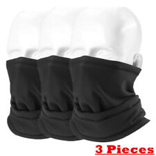 3 Pcs Tube Scarf Bandana Face Mask Mouth Cover Gaiter Multi-use Head Wear Black