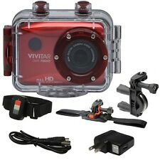 """Vivitar Dvr786Hd Hd Waterproof Action Camcorder Red w/ Complete Accessory Kit Lâ""""¢"""