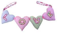 Shabby Fabric Bunting Love Hearts Pillow Hanging On A Ribbon Child Baby