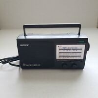 Vintage Sony AM FM TV Weather Portable Radio AC/DC Power Gray Tested