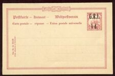 Samoa 1916 1d + 1d black on 10pf + 10pf stationery Post & Reply Card. H&G I4.