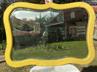 Vtg Antique Wood Yellow Painted Frame Beveled Buffet Cottage Wash Stand Mirror