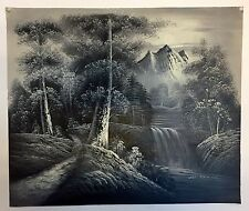 Hand Painted Oil Painting on Canvas Black/white Forest With Mountain/waterfall
