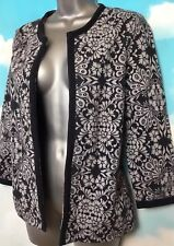 210dfb7b3c8 MONSOON 10 Vgc Navy Grey Floral 3 4 Sleeve Jacket Cover Up Cardigan