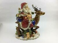 "Large 14"" Height Centerpiece Santa Riding Reindeer T11 Collections Ceramic"