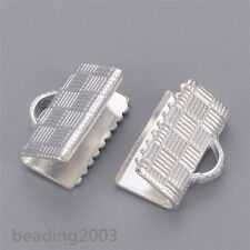 50pcs Silver Brass Ribbon Crimp Ends Craft Terminator Jewelry Findings 10x7x5mm