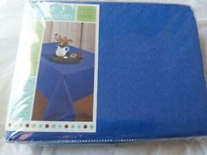 "Blue Fabric Oblong Tablecloth - 60"" X 84"" (152 X 213cm) Wrinkle Resistant - NOS"
