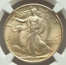 1935 50c NGC MS67 Walking Liberty Gem graded Philadelphia Silver Half Dollar