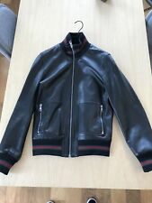 Gucci 100% Authentic Men Black Leather Bomber Jacket