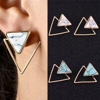 Retro Geometric Female Earrings Marble Pattern Turquoise Earrings Jewelry Chic 1