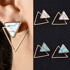 Retro Geometric Female Earrings Marble Pattern Turquoise Earrings Jewelry Chic*