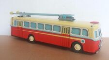 Antique Red China Tin Toy clockwork. Chinese MS 705 Trolley Bus Shanghai-RARE!!