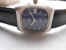 VTG SS SWISS MADE OMEGA DE VILLE SQUARE CASE BLUE DIAL DATE QUARTZ WRIST WATCH