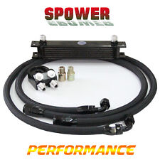 7Row AN10 Engine Universal Oil Cooler Black + 3/4*16 & M20 Filter Relocation Kit