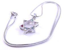 Estrella De David Magen Judaica Collar Colgante Plata Kabbalah Piedras Regalo Judío