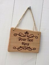 Handmade Personalised Rustic Wooden Vintage Victorian Room Den House Sign Plaque