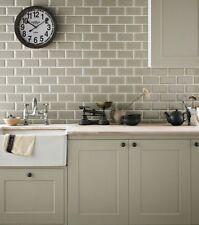 TILE SAMPLES London Bevelled Sage Green Gloss Metro Bathroom Tiles 10 x 20cm
