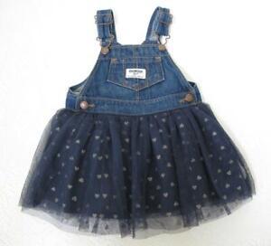 Osh Kosh B'Gosh Baby Denim Overall Dress 12mo Vestbak Tulle Skirt Gold Stars