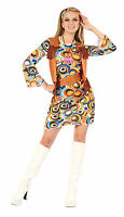 Womens Hippy Fancy Dress Costume Autsin Powers 1970S Flower Power Outfit New