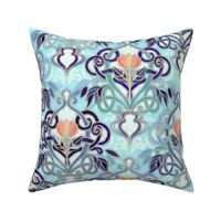 Art Nouveau Enamel Deco Throw Pillow Cover w Optional Insert by Roostery