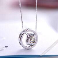 Halskette mit Anhänger Silber Diamant Strass Damen Kette Collier lang LA FERANI