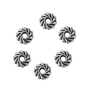 500 Antiqued Tibetan Silver 5mm Pinwheel Bead Heishi Disc Rondelle Spacer Beads