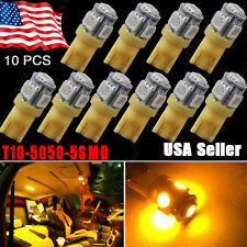 10X Amber/Yellow T10 Wedge 5SMD 5050 LED INTERIOR Light W5W 2825 158 192 168 194