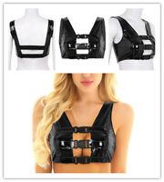 Women Leather Sleeveless Tank Top Sexy Crop Top T-Shirt Blouse Vest Tee Clubwear
