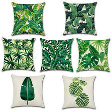 Cushion Cover Tropical Green Leaves Linen Throw Pillow Case Sofa Home Decor