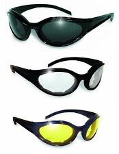 3 Windmaster ANTI FOG Padded Motorcycle Riding Sun Glasses-Night & Day w-Pouches