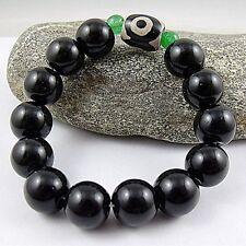 Dzi elasticity Amulet Bracelet 12mm Black Beads Three Eyed