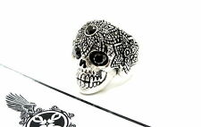 Men's Silver  Skull Ring With Black Diamonds
