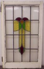 "LARGE OLD ENGLISH LEADED STAINED GLASS WINDOW Floral Design 20.25"" x 34"""