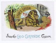 Lyon's Special inner cigar box label, Lion, smoke leo grande cigars
