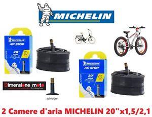 "2 CAMERA D'ARIA 20x1,5/2,1 MICHELIN valv.-SCHRADER per Bici 20"" MTB Mountain Bik"