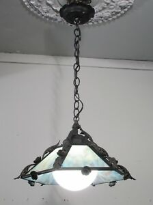 Antique Vintage Iron Slag Glass Pendant Light Fixture Lamp Blue 1 Lt.Petite
