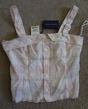 "Ralph Lauren Pink Plaid Size 8 Crop Top NWT 100%Cotton Made In China 17"" x 13"""