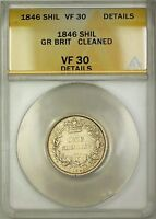 1846 Great Britain 1S Shilling Silver Coin ANACS VF-30 Details Cleaned