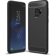 Samsung Galaxy S9 Hoesje Cover Case Zwart Black TPU Brushed Carbon Schwarz